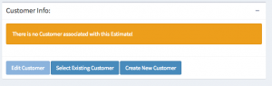 Estimate creation customer information box for vehicle service estimates.