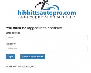 Mechanic invoice creation software login screen