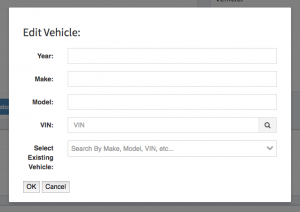 Mechanic estimate creation vehicle identification form.