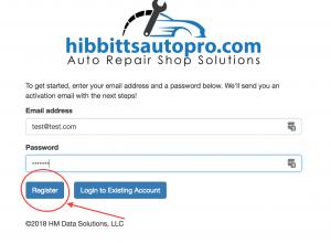 Auto shop account registration button location.