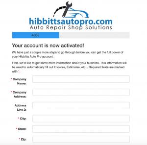 Auto shop company profile form.