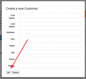 "Location of the ""OK"" button within the create new customer form."