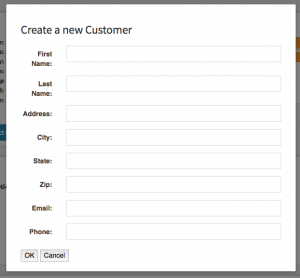 New customer form that contains fields relevant to adding a new customer within hibbittsautopro.com.