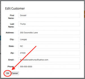 "Location of the ""OK"" button within the edit customer modal window."
