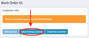 "Location of the ""Select Existing Customer"" button within the customer info panel."