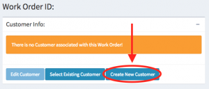 The create new customer button within the customer information panel.