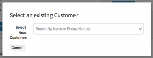 The select existing customer form that helps you lookup existing customers.