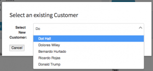 Type ahead search functionality of the select existing customer form.