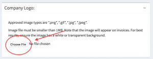 The location of the choose file button within the logo upload block.