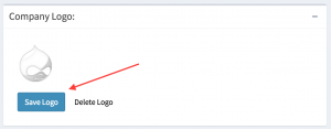 The location of the save button on the choose company logo field.