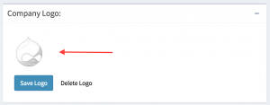 Company logo field with a logo chosen but not saved.