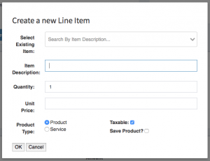 A modal containing the form used to add new line items to a work order.