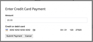 A filled out credit card form to apply a payment to a work order.