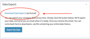 The data export panel now contains a link to your data dump file. Click this to start your download.