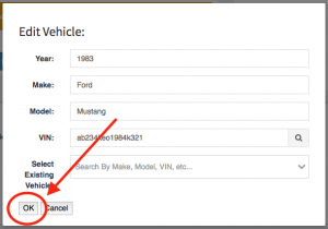Location of the save/ok button on the edit vehicle modal.