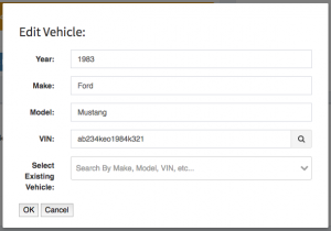An example of the completed add vehicle form.