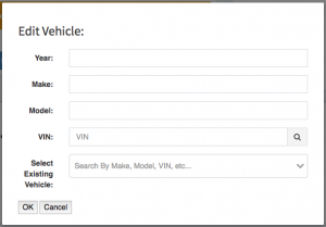 The edit vehicle modal that appears when adding a vehicle to a work order.