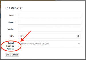 "The location of the ""Select Existing Vehicle"" field within the edit vehicle modal."