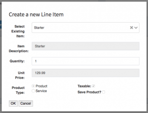 The add line item form auto populated by the select existing item field.