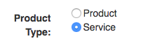Product and service selection field in the add line item modal.