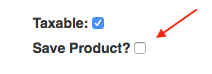 The save product checkbox within the add line items modal.