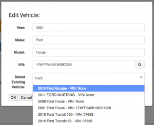 The search vehicle autocomplete functionality making recommendations of possible vehicles for this Work Order.