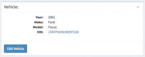 A vehicle is now associated with a Work Order and listed on the Work Order page.