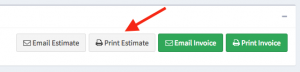 "Location of the ""Print Estimate"" button within the Actions panel on the Work Order page."