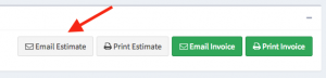 """Location of the """"Email Estimate"""" button within the Actions panel."""