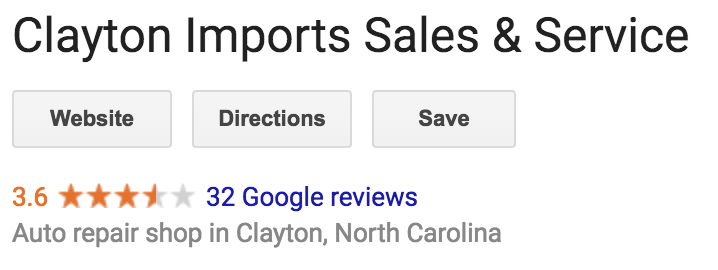 An example google search results that has online reviews