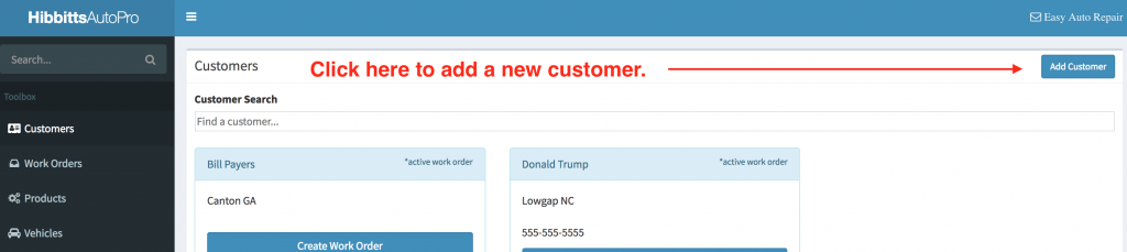 "Location of the ""Add customer"" button on the customer search page."