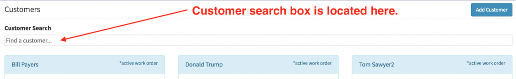 Location of the customer search box.