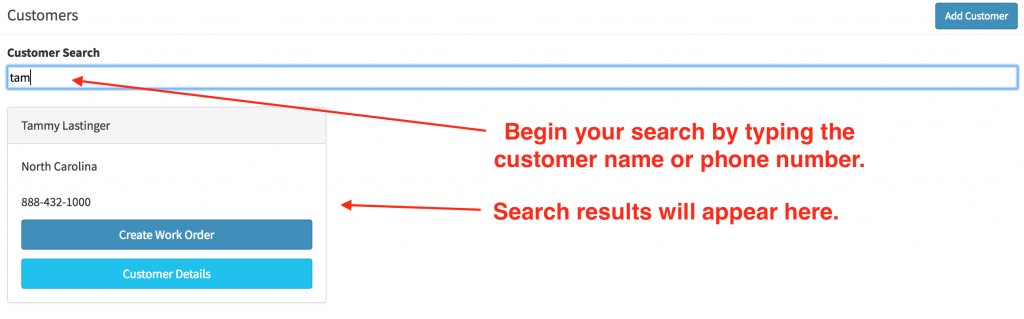 An active customer search in the customer search field.