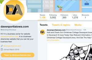Twitter profile with business description and a link back to their website.