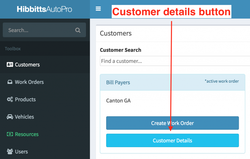 Location of the customer details button on the customer search page.