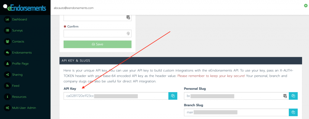 API key location within the eEndorsements My Account page. Blotted out for security reasons.
