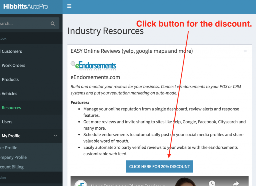 Location of the button for eEndorsements that offers a 20% discount.