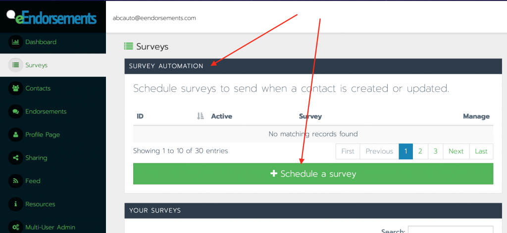 The location of the survey automation panel and schedule a survey button within the eEndorsements platform.
