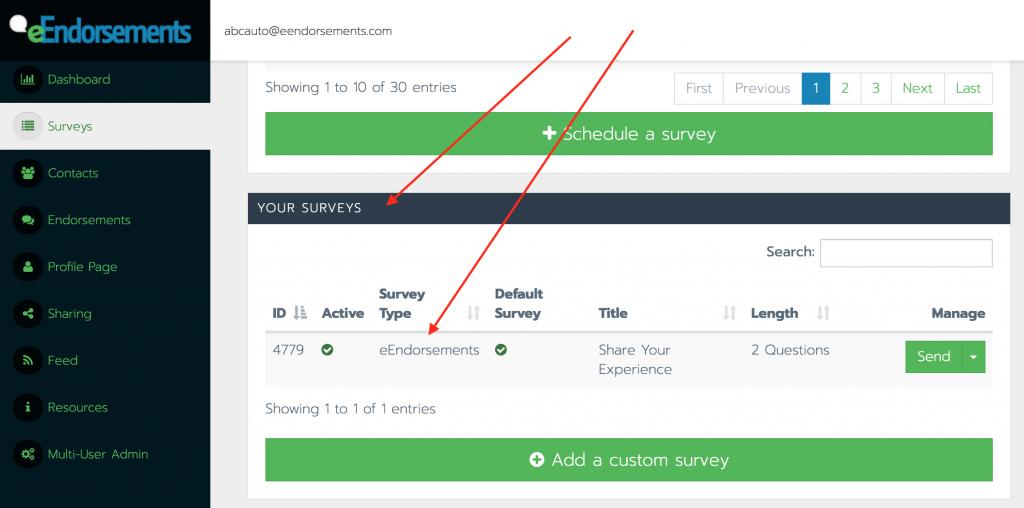 """The """"Your Surveys"""" block within the eEndorsements platform."""