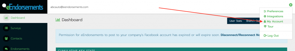 My account menu link in the eEndorsements user menu.