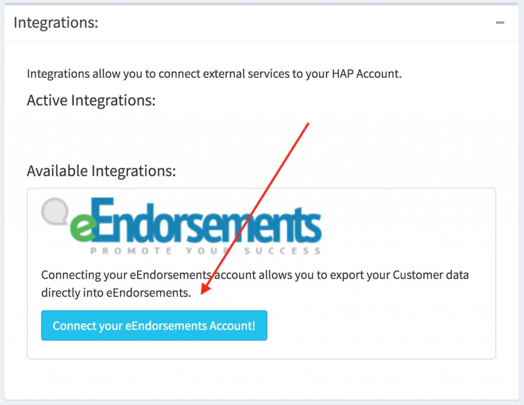 eEndorsements integrations button within the hibbittsautopro.com application.