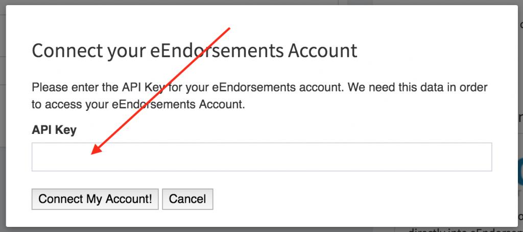 eEndorsements integration modal. A field for inputing your API key.