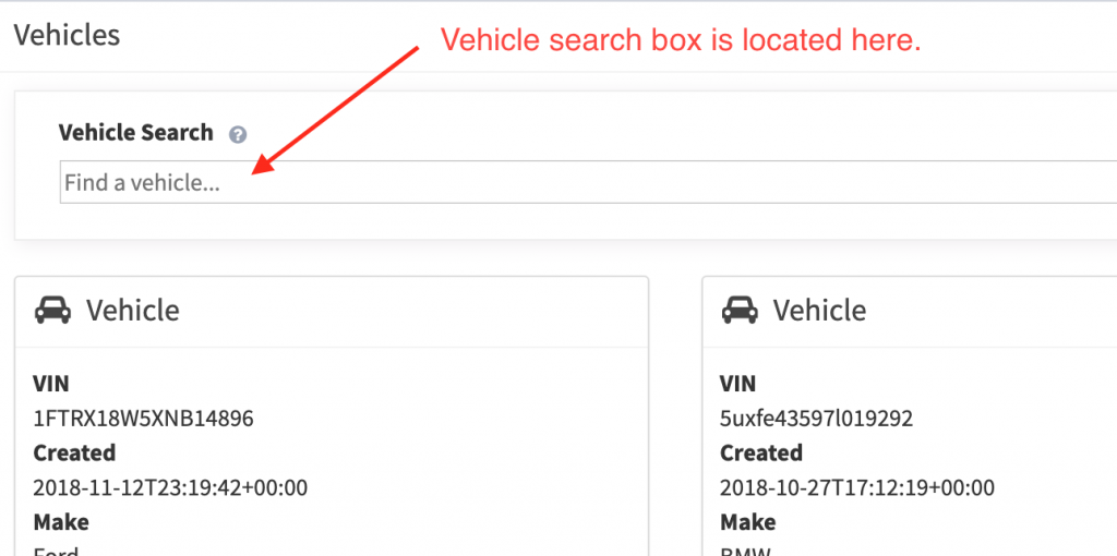 Location of the vehicle search input field.