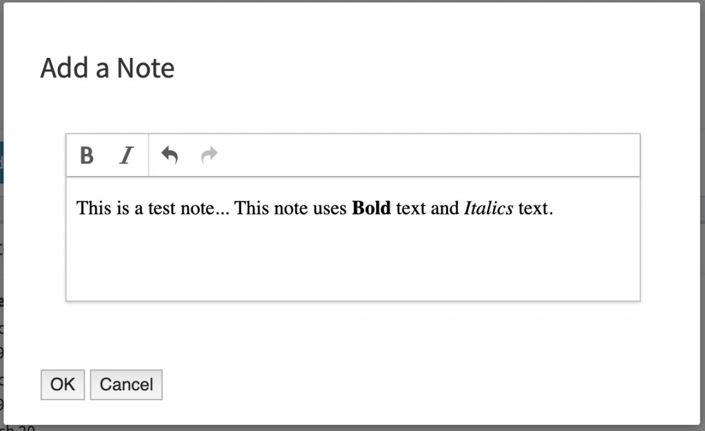 The textarea note field in use showing bold and italics text.