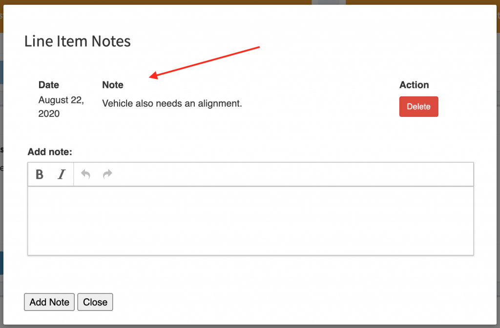 View existing line item notes.